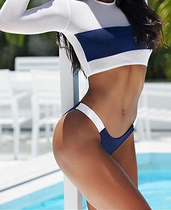 Long Sleeve Tankini Bandage Push Up Swimsuit Set