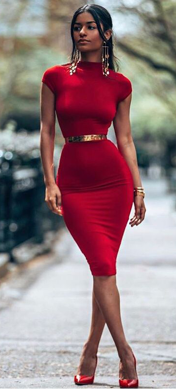 Red Turtle Neck Bodycon Dress