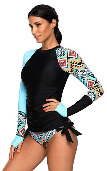 Women's Aztec Long Sleeve Tankini Set