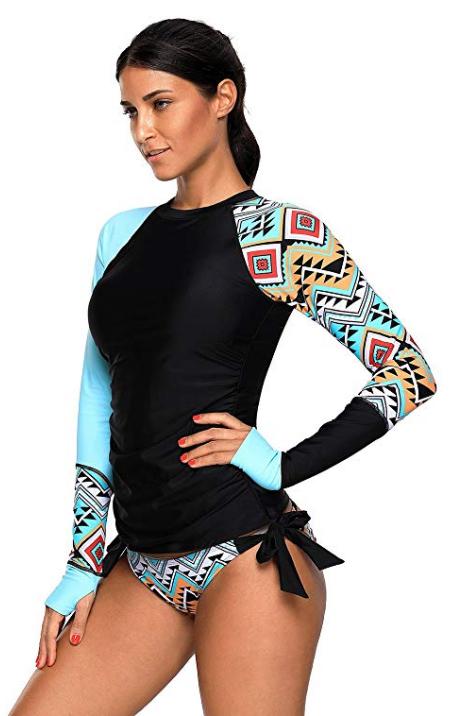 Women's Aztec Long Sleeve Tankini Set