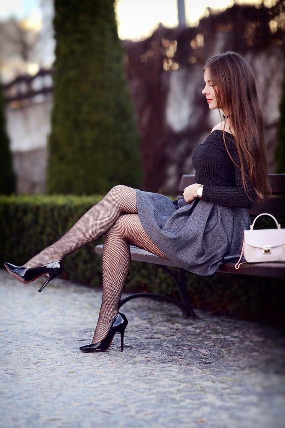 Black Shoulderless Long Sleeve Top With Blue Mini Skirt