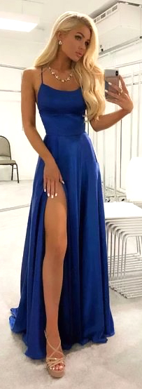Blue Spaghetti Strap Long Party Dress With Open Slit