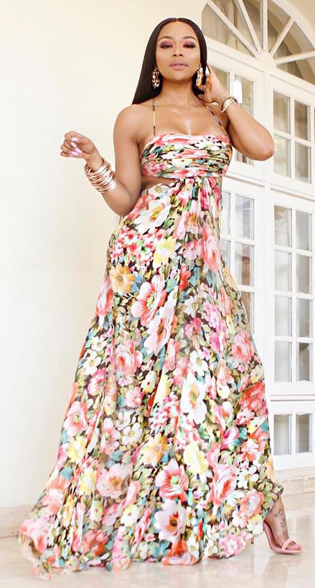 Floral Backless Halter Spaghetti Strap Long Dress