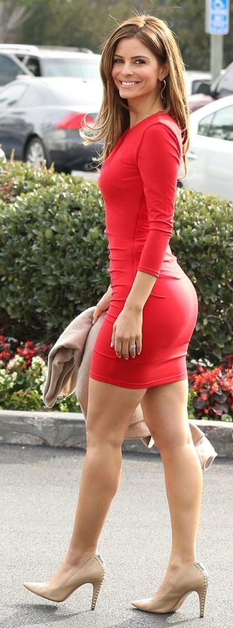 Maria Menounos Bodycon Fitted Long Sleeve Short Red Dress