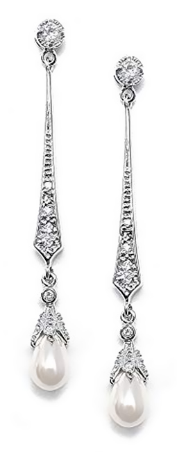 Mariell Slender Cubic Zirconia Vintage Dangle Earrings With Freshwater Pearl