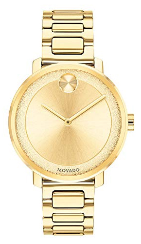 Movado Bold Stainless Steel Gold Plated Swiss Quartz Watch
