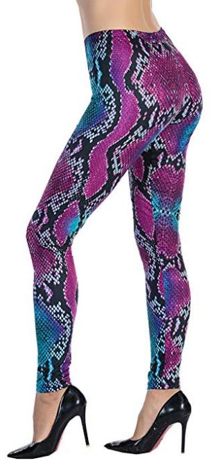 Purplish Blue Snake Skin Designer Leggings