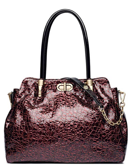 Womens Genuine Leather Red Wine Designer Handbag