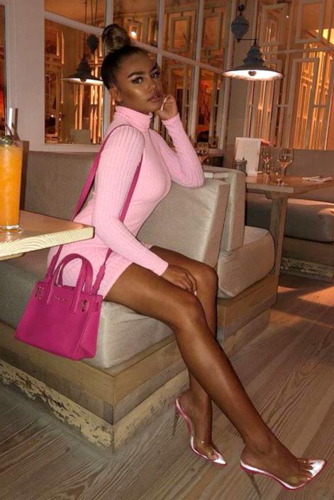 Pink Turtle Neck Long Sleeve Sweater Dress