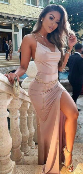 Cream Pink Open Slit Long Party Dress