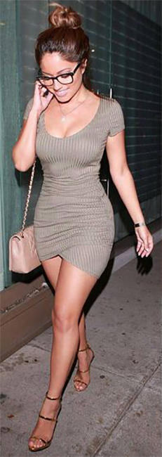 Salisbury Green Short Sleeve Bodycon Fitted Short Dress