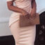 Bandage Off Shoulder Bodycon Cream Dress