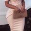 Bandage Off Shoulder Bodycon Cream Dress