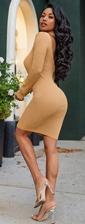 Bodycon Party Backless Dress Midi Sweater Dress