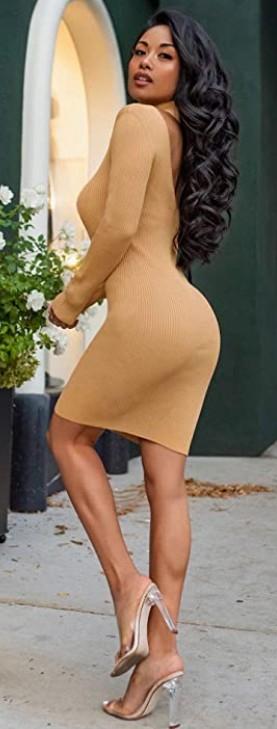 Bodycon Party Backless Dress Midi Sweater Dress