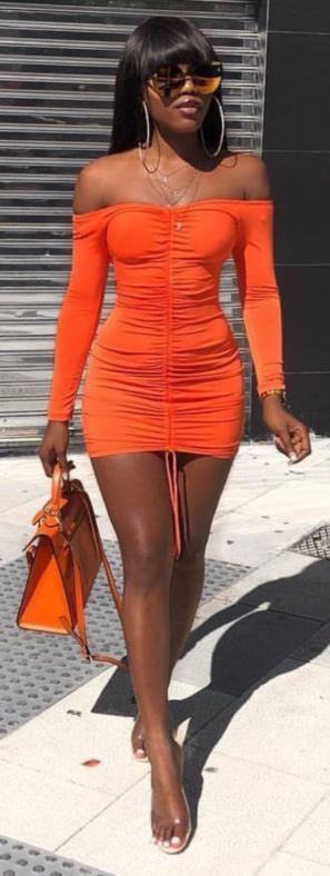 Orange Ruched Shoulderless Long Sleeve Mini Dress