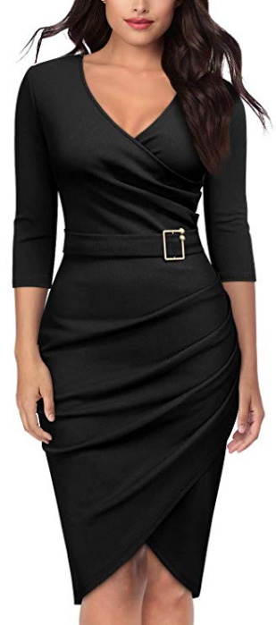 Runched Evening Cocktail Pencil Dress